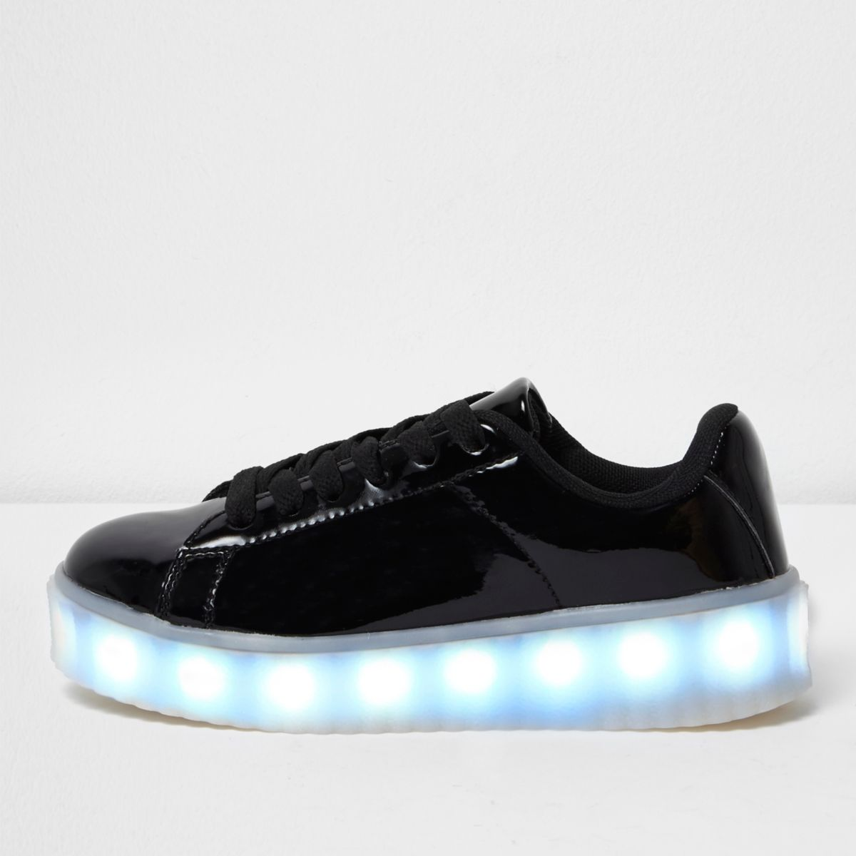Girls black flashing light lace-up sneakers