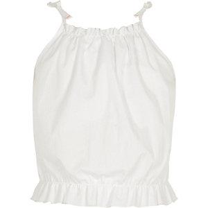 Weißes Camisole mit Rüschen