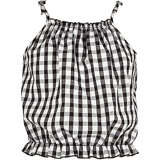 Girls black gingham print tie cami top