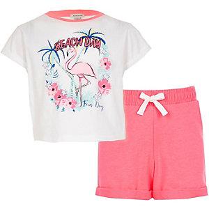 Outfit met roze T-shirt met flamingoprint voor meisjes