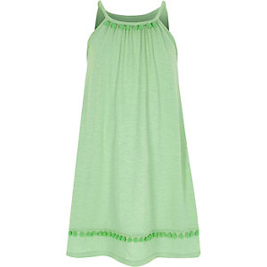 Girls light green pom pom trapeze dress