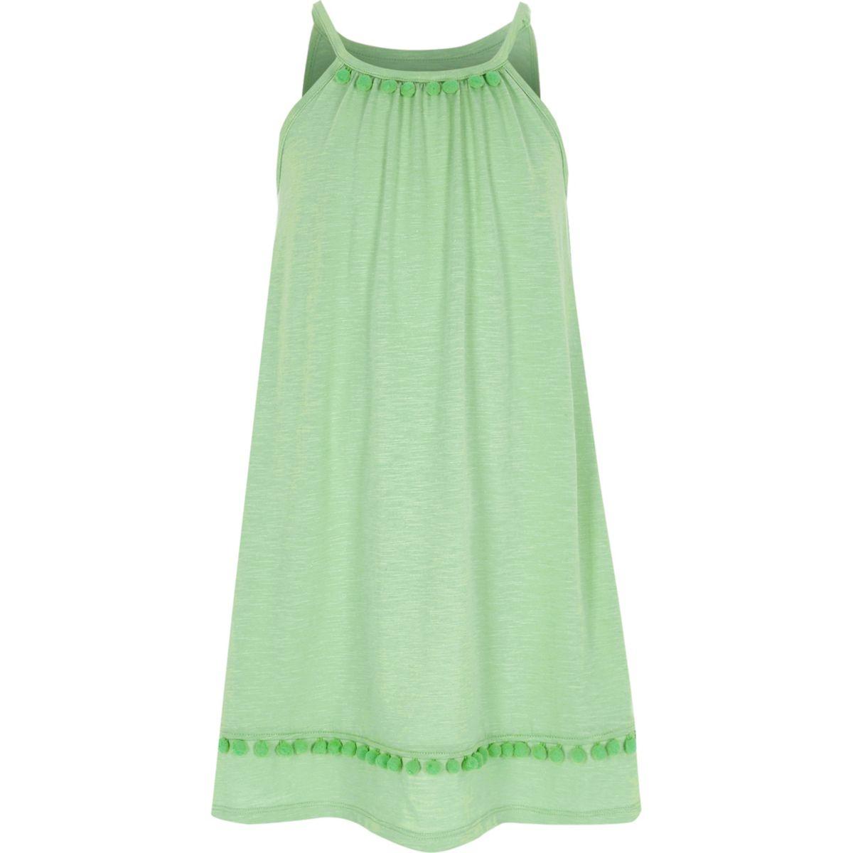 Girls light green pom pom trapeze dress