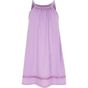 Girls light purple pom pom trapeze dress