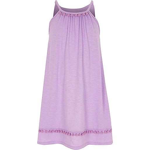 Girls light purple pom pom trapeze dress