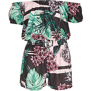 Girls pink tropical floral bardot romper