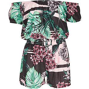 Combi-short Bardot à imprimé fleurs tropicales fille