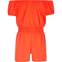 Girls coral orange shirred bardot romper