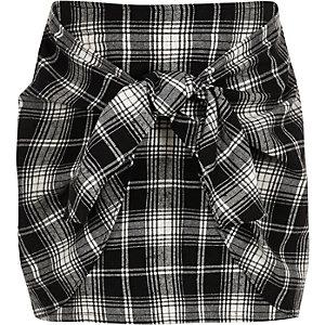 Zwarte geruite rok met knoop voorop voor meisjes