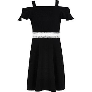 Girls black frill crochet bardot dress