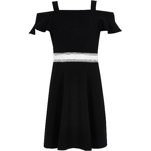 Girls black frill crochet bardot dress