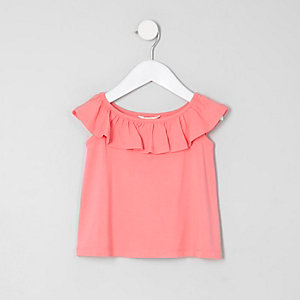 Mini girls coral ruffle bardot T-shirt