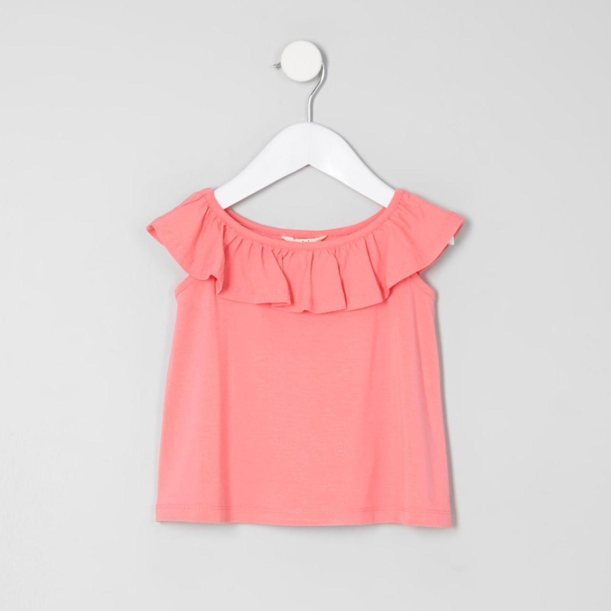 Mini girls coral ruffle bardot T-shirt