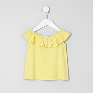 Mini girls yellow ruffle bardot T-shirt
