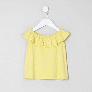T-shirt Bardot jaune à volants mini fille