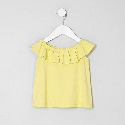 Mini girls yellow ruffle bardot T-shirt