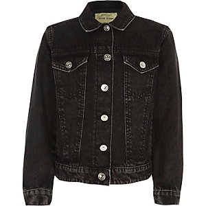 Girls washed black denim jacket