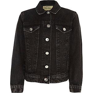 Veste en jean noire délavée pour fille