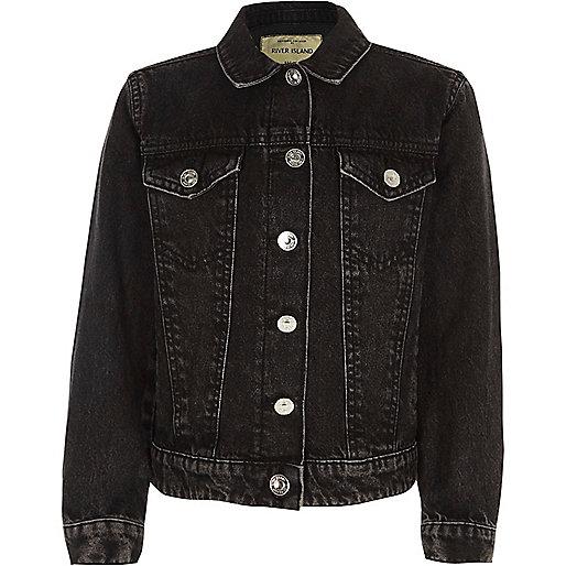 Girls washed black denim jacket