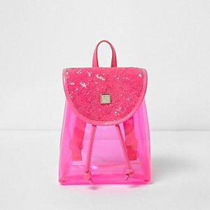 Sac à dos transparent avec sequins rose fluo fille