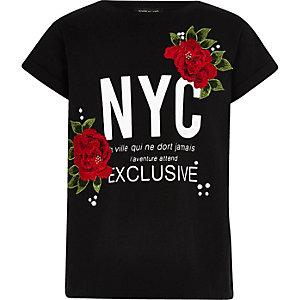 Girls black 'NYC' floral appliqué T-shirt