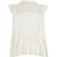 Girls cream frill lace insert shell top