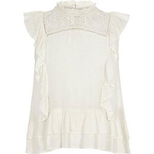 Girls cream frill lace insert shell top