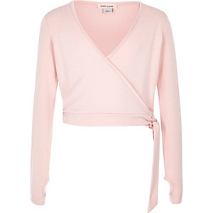 Girls RI Active pink wrap front ballet top