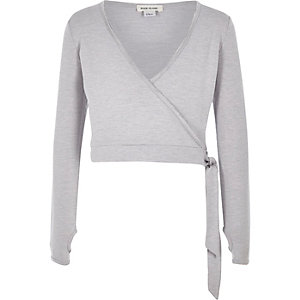 Girls grey marl wrap front ballet top