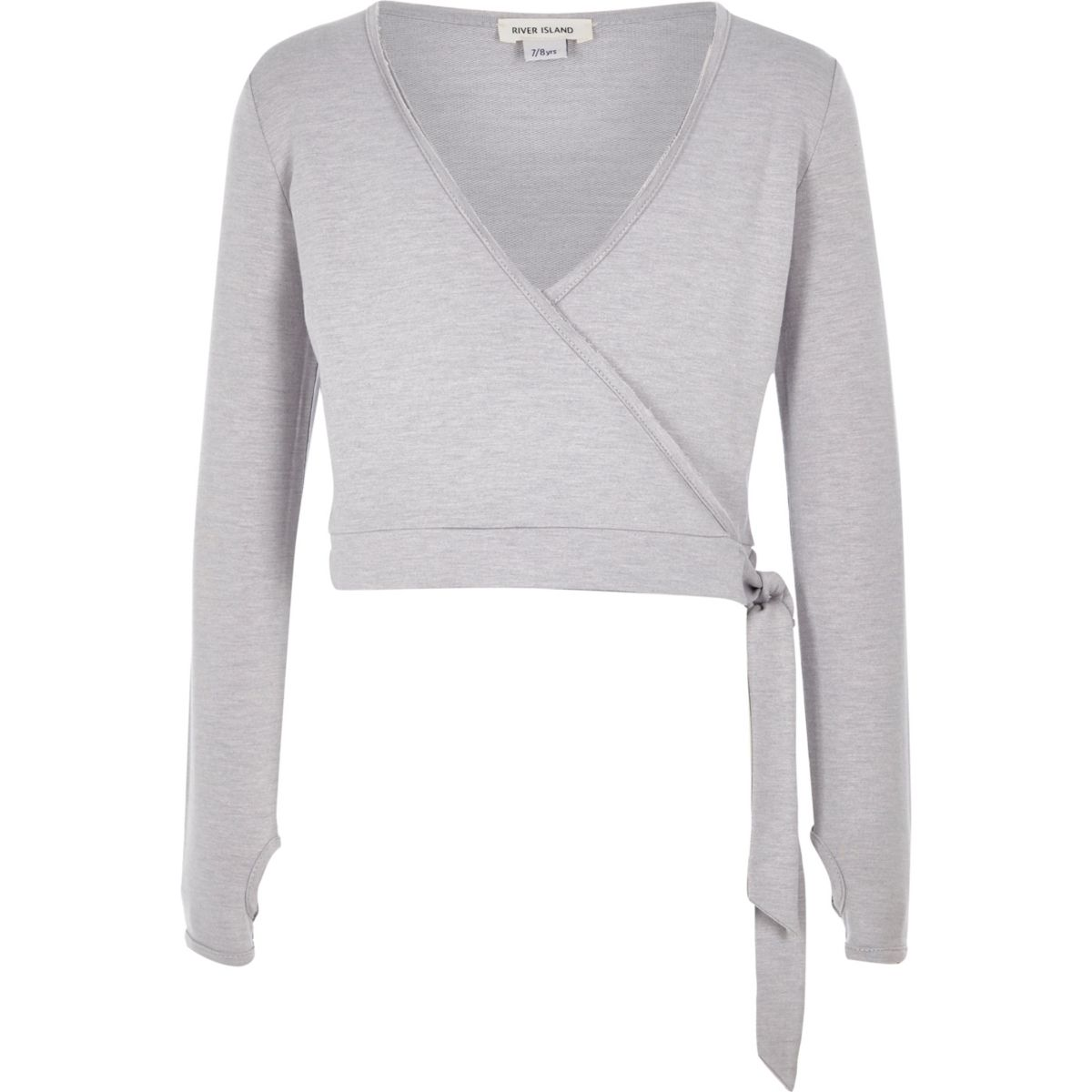 Girls RI Active grey wrap front ballet top