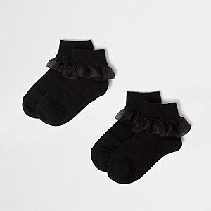 Girls black organza frill socks multipack
