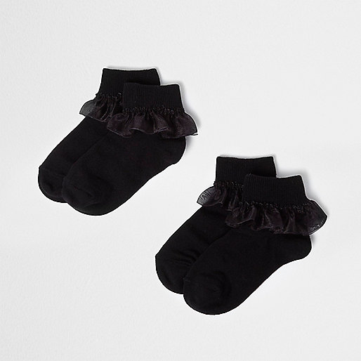 Girls black organza frill socks multipack
