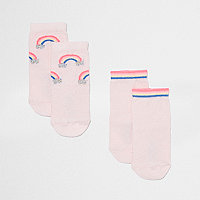 Mini girls pink rainbow socks multipack
