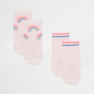 Lot de chaussettes roses motif arc-en-ciel mini fille