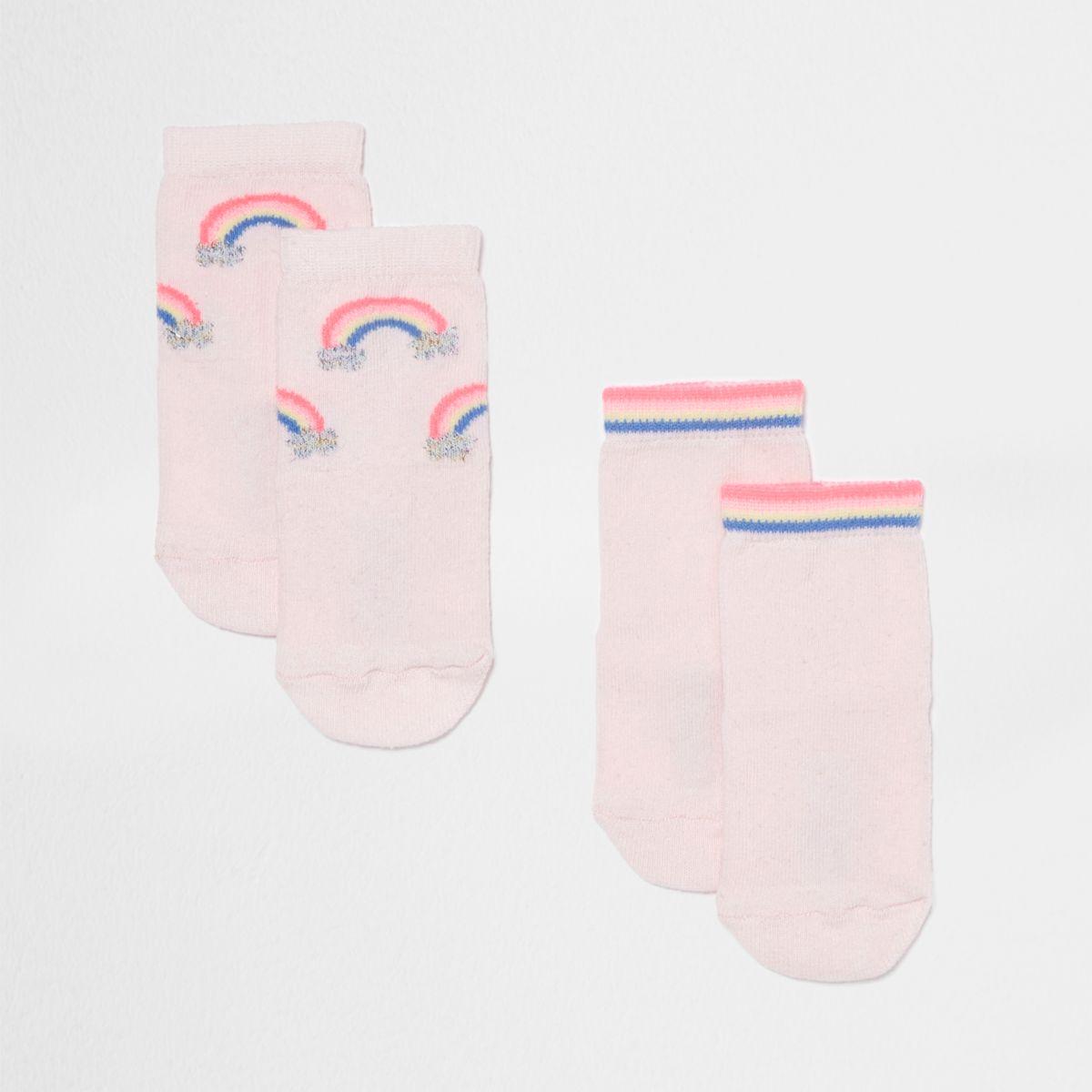 Mini girls pink rainbow socks multipack