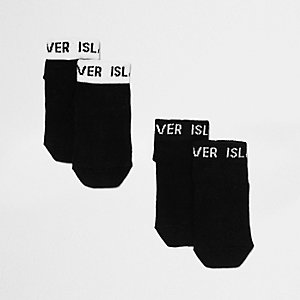 Mini girls black RI branded socks multipack