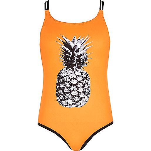 Girls orange pineapple print swimsuit
