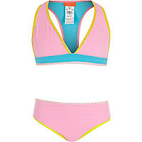 Girls color block triangle bikini set
