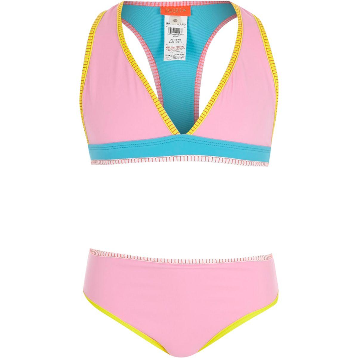 Girls color block triangle bikini set