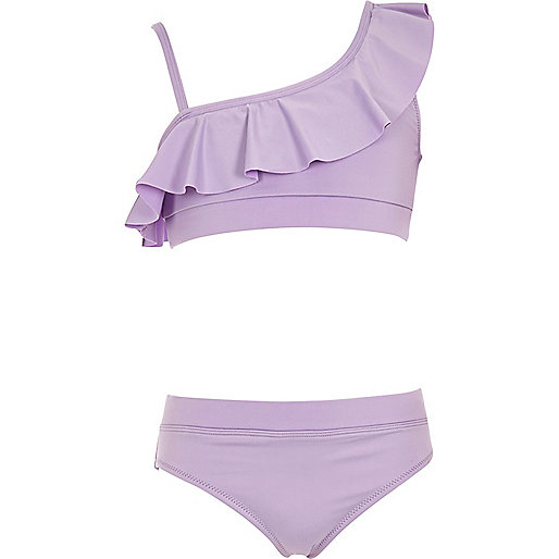 Girls purple one shoulder frill bikini set