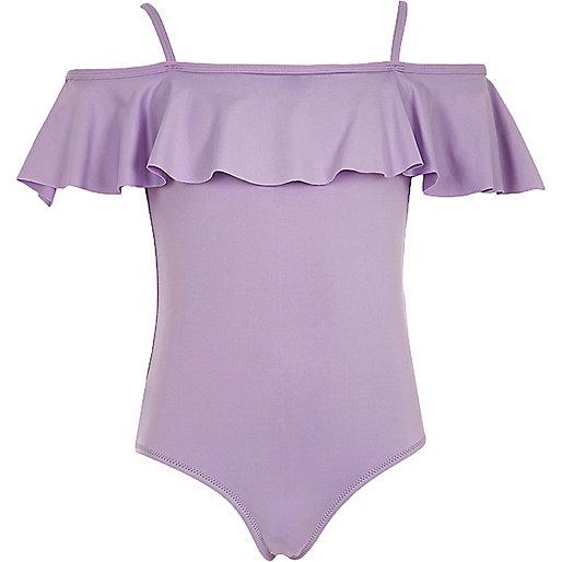 Girls purple bardot swimsuit
