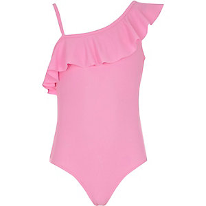 Girls pink one shoulder frill swimsuit