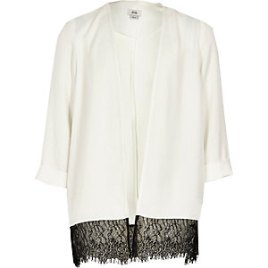 Girls white lace hem duster jacket