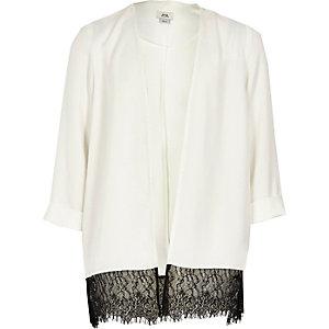 Girls white lace hem duster jacket