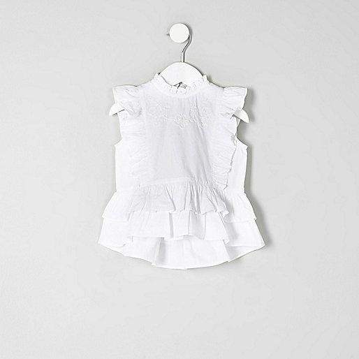 Mini girls white frill peplum hem top