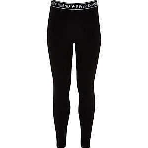 Girls black RI branded leggings