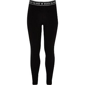 Zwarte legging met RI-logo voor meisjes