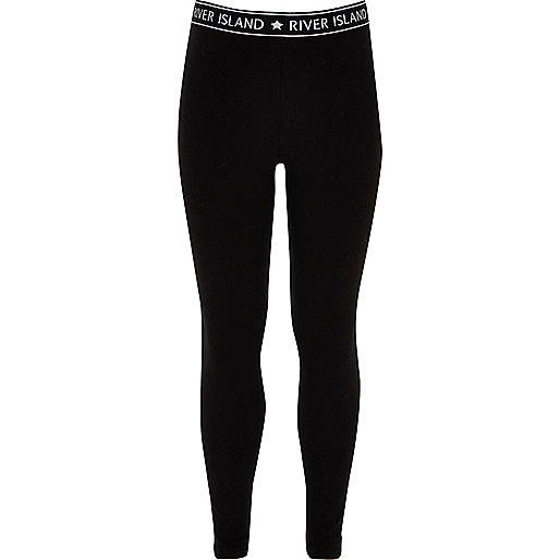 Girls black RI branded leggings