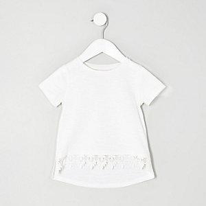 Mini girls white crochet hem T-shirt