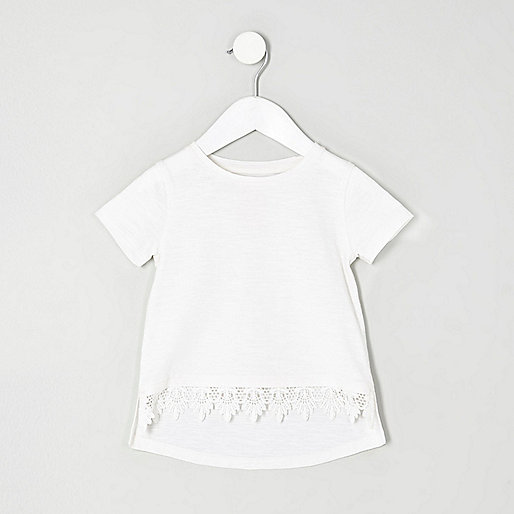 Mini girls white crochet hem T-shirt