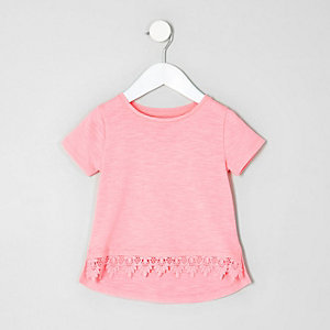 Mini girls pink fluro crochet hem T-shirt
